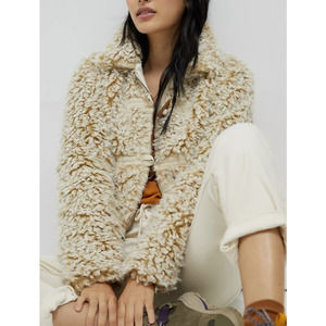 Anthropologie Brenna Faux Fur Boucle Coat Taupe S